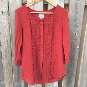 Maeve red peasant lacey button up blouse - size 2